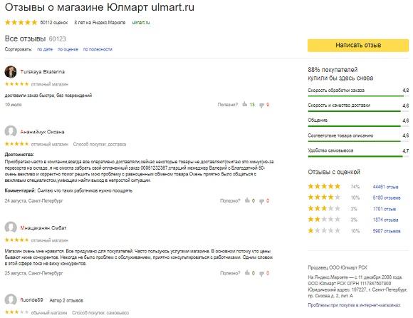 Отзывы о Ulmart на Яндекс.Маркет